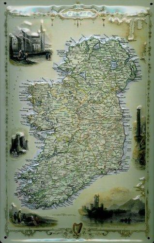 Blechschild Nostalgieschild Ireland Landkarte Irland retro Schild