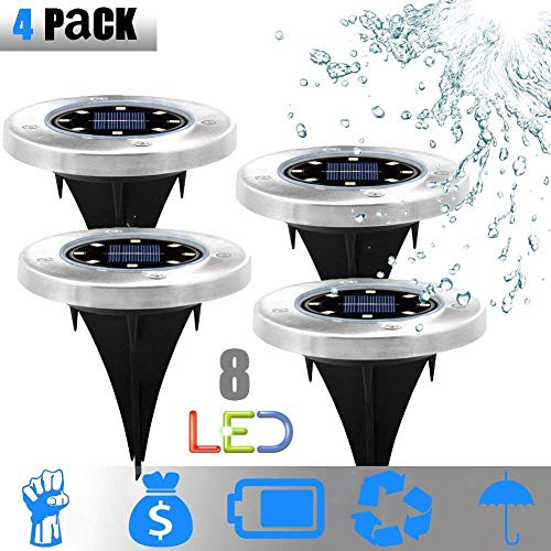 Huayao Solar Ground Lights, Garden Pathway Underground Lights Outdoor Waterproof mit 8 LED-Lampen Outside Power Lampenlampe Dark Sensing LampScape Buried Light for Outdoor Path Way 4 Pack