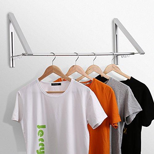 Jerrybox Klappbarer Kleiderhaken Wand-Kleiderständer Wandgarderobe Einstellbare Kleiderstange Garderobenstange für Wohnzimmer, Bad, Schlafzimmer, Büro, 32cm x 29 cm x 80 cm, Silber