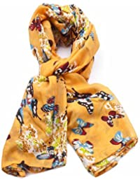 Beautiful Butterfly Printing Scarf London Fashion Butterfly Printed Long Shawl Scarves (Yellow)