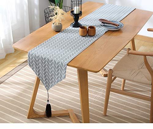 (Tischläufer Twill-Läufer, einfarbig grau kariert japanische Art Quaste Baumwolle Doppelschicht Tischfahne, 33 * 240cm)