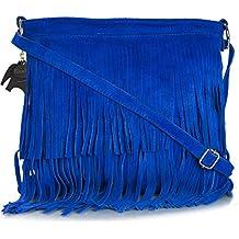 Big Handbag Shop - Bolso grande, de ante, con flecos