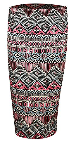 Womens Ladies High Waist Floral Aztec Printed Pencil Midi Skirt Plus Size (High-waist Floral Pencil-skirt)