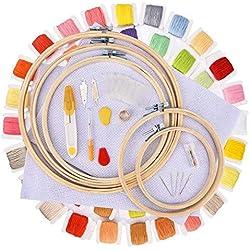 Hisome Stickerei Starter Kit, Kreuzstich Tool Kit Einschließlich 5 Stück Bambus-Hoops, 60 Farbfäden, 12 von 18-Zoll 14 Count Classic Reserve Aida und Nadeln Set