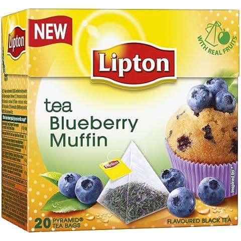 Lipton - Tè Nero Gusto Muffin al Mirtillo - Bustine Premium a Piramide (Confezione da 20 Pezzi) - Lipton Bustine Di Tè
