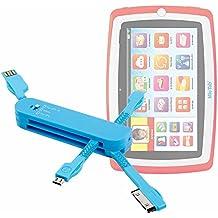 DURAGADGET Caricatore Coltellino Svizzero 4 in 1 Per Tablet Lisciani Giochi Mio Tab Laptop Evolution HD, Special Edition - 57474 | 46065 - Carotina Mio Tab Preschool 3.0 [Versione 2014]- Connessione MicroUSB / Apple 8pin Lightning / Apple 30pin / USB 2.4 - Colore Azzurro