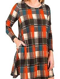 Juleya Dresses Women Plaid Dress Loose Fit Long Shirts Dress Long Sleeves Round Neck Mini Dress Working Office Casual Dresses