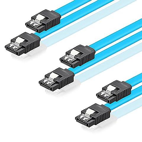 SET - 3x deleyCON [0,5m] S-ATA 3 Kabel - PREMIUM SATA 3 HDD / SSD Datenkabel mit Clip - 2x Stecker gerade - bis 6 Gbit/s - Länge: 50cm / Farbe: Blau