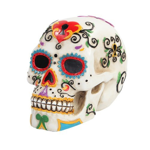 5.5 Inch Multicolor Patterned Day of The Dead Skull Statue Figurine by PTC Multi Color Patterned