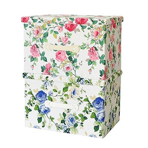 Aufbewahrungsbox, klappbar, klassisches Blumen-Muster (blau/rot), Kunstfutter mit Deckel, Rot / Blau, 2*45*30*30cm