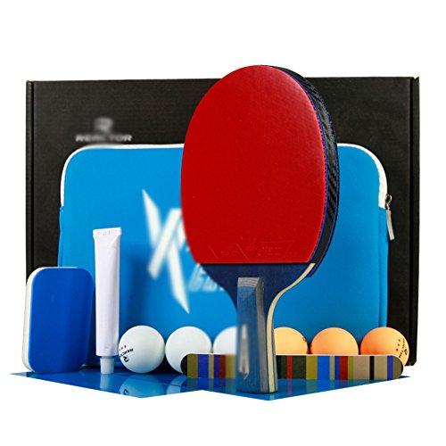 X&M Ping Pong Paddel-Premium-Qualität von tischtennisschläger mit Komfortabler Griff – überlegene Rubber & Elastische Schwamm – Umfasst schläger Bag Geschenk-B (Standard Tennisschläger Griff Für)