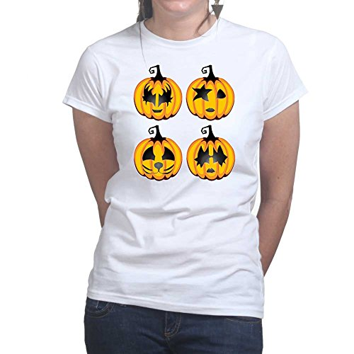 Womens Halloween Rock Pumpkin Scary Costume Ladies T Shirt (Tee, Top) White