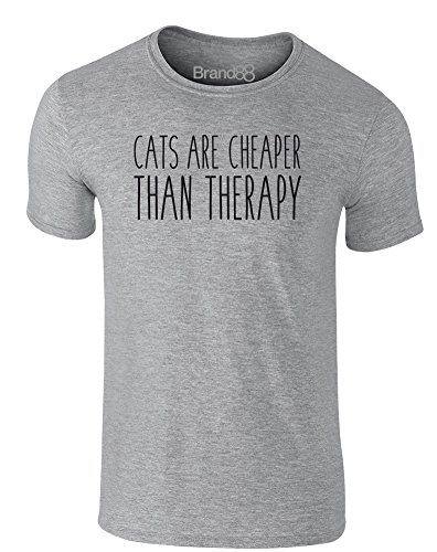 Brand88 - Cats Are Cheaper Than Therapy, Erwachsene Gedrucktes T-Shirt Grau/Schwarz
