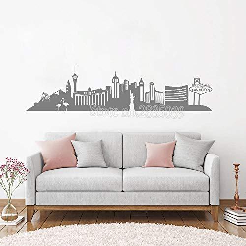 iten Las Vegas Skyline Wandaufkleber Vinyl Aufkleber Wohnkultur Wohnzimmer Sofa Hintergrund Wandbild Stadt Landschaft LC123 ()