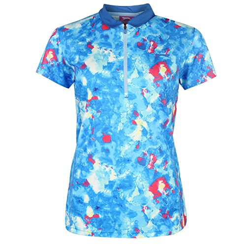 Slazenger Damen Fashion Golf Polo Shirt Kurzarm Leicht Polohemd Abstrakt Muster Multi Print 10 (S) (Polos Golf Damen)