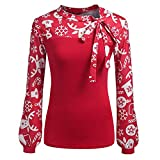 Trisee Damen Shirts Elegant Hemds mit Bow Kragen Streifen und Blume Drucken Blusen Business Oberteile Tops Grosse Grössen Langarmshirt Slim Fit Sweatshirts mit Laternenärmel