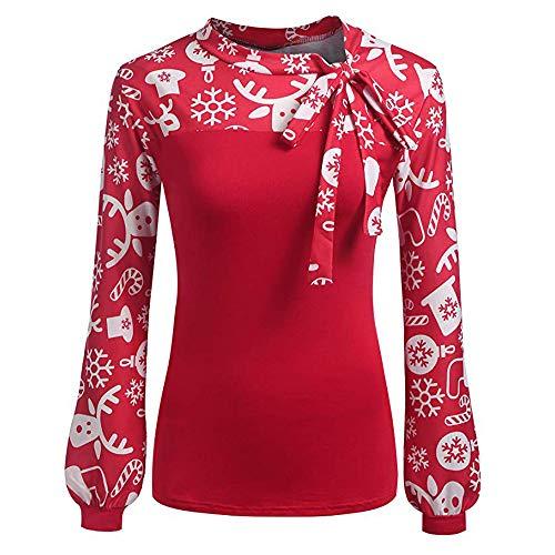 Frauen Sweatshirt Outwear Damen Pullover Shirt Sweater Oberteile Strickpullover Tops Strickpulli Jacket Pulli Womens Bluse Kleid Oberteil Weihnachten Print Fliege Bow Stitching ()