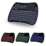 iPazzPort Mini Teclado inalámbrico Bluetooth con Panel táctil, Teclado retroiluminado RGB y Control Remoto Universal de TV para Android TV Box, Nvidia Shield TV, Raspberry Pi, Apple TV KP-810-61BT