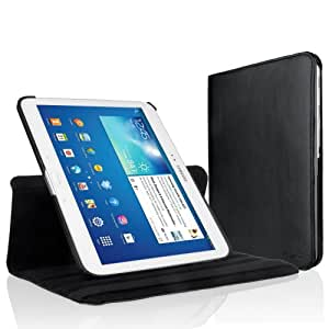 EasyAcc® Samsung Galaxy Tab 3 10.1 PU Leather Case Cover 360° Rotating swivel with Stand Function for Samsung Galaxy Tab 3 10.1 P5200 P5210 P5220 Smart Cover Skin (Premium PU Leather, Black)