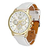 Frauen Armbanduhr Elegante Damen Uhr,Sunday Damenuhr Vintage Analoge Quarz Uhren Lederarmband Uhr mit Chronographen Watch Hand Uhr Geschenk Für Frauen (Weiß)