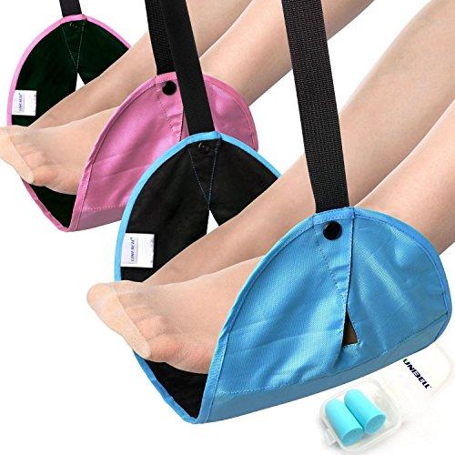 Preisvergleich Produktbild Keasy Neue Kombination Ultra Tragbare Reise Fußraste Flüge Zugtickets Bus Carry-on Fußablage Reise-Zubehör(Blau+Süße Rosa)