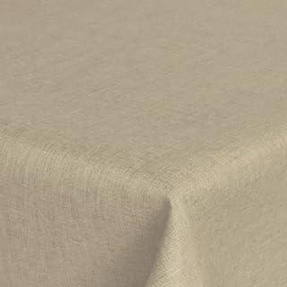 AZVS WS Premium Leinen Optik Tischdecke Eckig 130 x 220 bzw. 130x220 bzw. 220x130 cm Beige Sand mit Lotus Effekt Tischwäsche mit Fleckschutz von DecoHometextil - Beige 130 x 220 cm