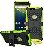 Huawei Nexus 6P Handy Tasche, FoneExpert® Hülle Abdeckung Cover schutzhülle Tough Strong Rugged Shock Proof Heavy Duty Case für Huawei Nexus 6P + Displayschutzfolie (Grün)