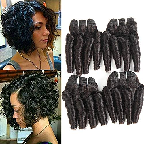 Funmi hair bundles deep curly hair weave 4 bundles aunty funmi capelli corti ricci onda bouncy curls bundles 10 a loose wave 4 bundles unprocessed human hair weave bob hair 50 g/pc natural color