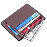 Kinzd Slim RFID Blocking Front Pocket Leather Wallet for Men Mini Card Holder (Coffee)