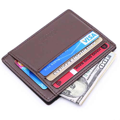 Kinzd Slim RFID Blocking Front Pocket Leather Wallet for Men Mini Card Holder (Coffee)
