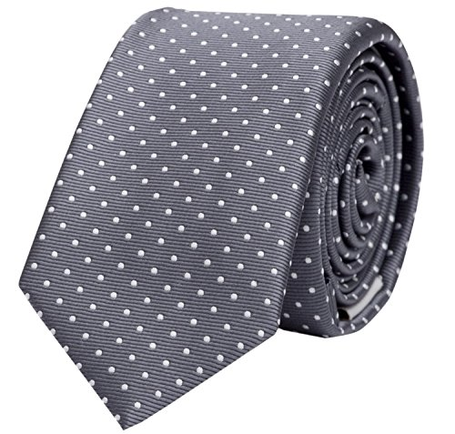 Schmale 6-cm Slim Krawatte von Fabio Farini in verschiedenen Farben, geeignet für Arbeit, Hochzeit oder Ball, Grau mit weißen Punkten