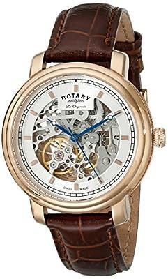 Rotary Rotary GS90505-06 Men's Watch - Reloj de automático para hombre, con correa de cuero, color marrón de Rotary