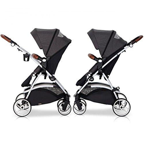 easyGO Buggy Sport Kinderwagen OPTIMO Grey Fox mit Liegefunktion – zusammenklappbar – Alu und Leder – Baby ab 6. Monate
