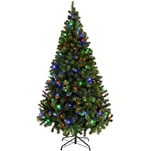 6ft (1.8m) Emerald Green Spruce Pre-Lit Christmas Tree with 200 Multi Colour LED Lights with Easy Build Hinged Branches