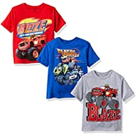 Nickelodeon Boys' Little Boys' Blaze and Monster Machines 3 Pack T-Shirt Bundle, Athletic Heather/Red/Royal, M-5/6