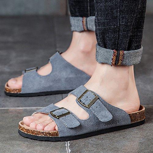 Pantofole estive maschio Pantofole in sughero Scarpe da spiaggia traspiranti Waichuan antiscivolo ( Colore : 3 , dimensioni : EU40/UK7/CN41 ) 8