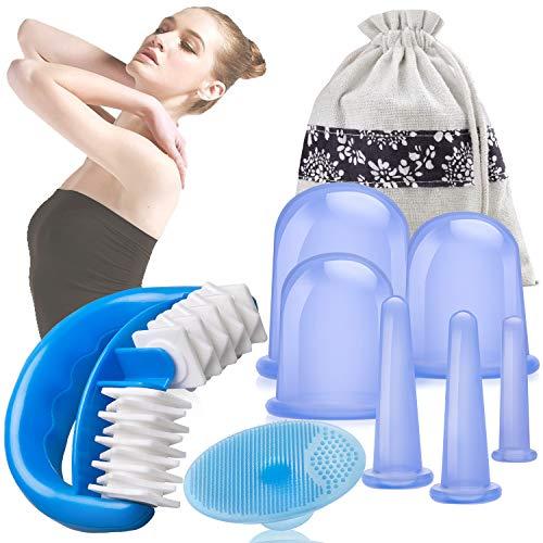 HBselect Silikon Schröpfen Therapie Set Cellulite Entferner Massagegerät mit einer Massage-Rolle und 4 Silikon Vacuum Tassen Schröpfgläser Anti Aging Anti Cellulite für Gesicht und ganzen Körper (6* Schröpfen + 1* Körper + 1* Gesicht Massage)