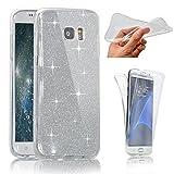 SevenPanda Samsung S6 Edge Plus Hülle, Glizter Bling Schutzhülle für Galaxy S6 Edge Plus Double Cover Touchscreen TPU Silikon Transparent 360°Schutz Handyhülle Full Body Front Back Case - Klar