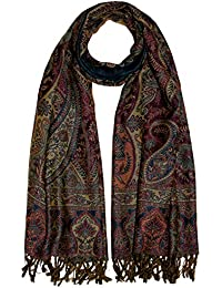 Lorenzo Cana Italian Scarf Pashmina 100% pure Wool 71'' x 28'' Paisley Purple Green Brown Beige 7819711