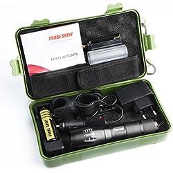 Moonuy 5000 Lumens Tactical LED CREE XM-L T6 Lampe de poche de police X800 Zoom Super Bright militaire de grade étanche titulaire Torche +batterie 18650 G700 Light Kit (noir)