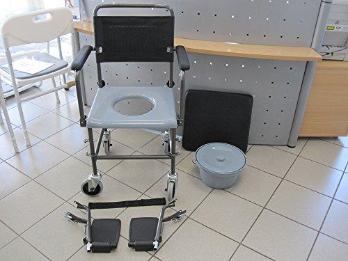 Fahrbarer Toilettenstuhl Nachtstuhl auf Rollen NEU für die professionelle Pflege Toilettenrollstuhl Test