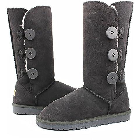 Europeos y americanos otoño e invierno la nieve mujer botas Gaotong genuino cuero del tendón en el extremo plana con Gaotong botas para la nieve botas calientes del ms , gray , 39