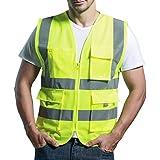 Panegy - Gilet Haute visibilité-Veste Réfléchissante-bandes avec Poches pour Chantier/Construction/Transport - en sergé - Jaune - Taille M