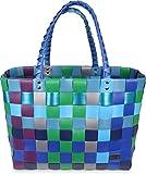 normani Einkaufskorb Shopper geflochten aus Kunststoff - robuster Strandkorb aus wasserabweisendem Material Farbe Classic/Sky