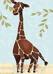 Oopsy Daisy Gillespie The Giraffe Blue by Meghann O Hara Canvas Wall Art 10 by 14-Inch
