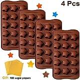 JoGoi 4 Stampi per Cioccolatini Caramelle Gelatine in silicone con 100 Carta Imballaggio Stampo Cioccolato Decorazioni per Torte Forme di Stella Confezione Regalo Natale