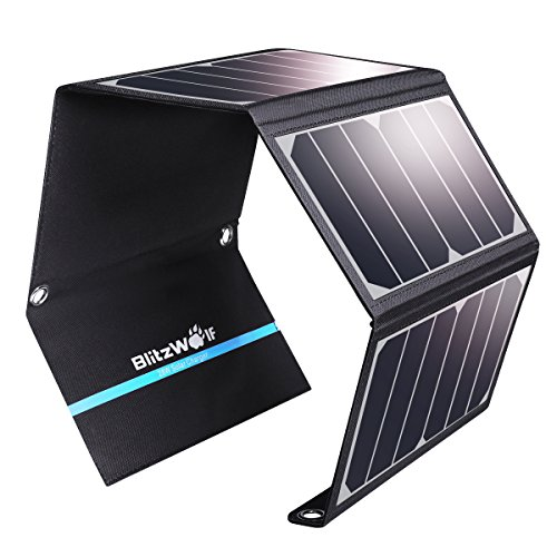 Solar Panel Handy Ladegerät, blitzwolf 28 W/3.8 a Dual USB Port Sunpower Akku Ladegerät für iPhone, Samsung Galaxy, iPad Air/mini, Kamera etc. Digitale Geräte (über 23,5% Sunpower Wandlung)