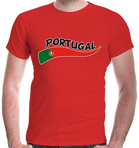 buXsbaum Herren T-Shirt Portugal Wave   Portuguesa Portogallo Europa Ländershirt Fanshirt Flagge Trikot Reise   L, Rot