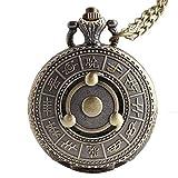 Baoleiju Retro Naruto Sharingan Modelo Reloj de Bolsillo Collar Colgante con Caja de Joyas, Collar Naruto para niños, niñas (Coppery)