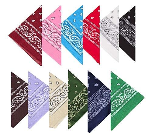Boolavard 100% Baumwolle, 1er 6er, oder 12er Pack Bandanas mit original Paisley Musteropf Bindung (Schwarz, Rot, Blau, Weiß, etc.) (12er Gemischt Mehrfarbig ()
